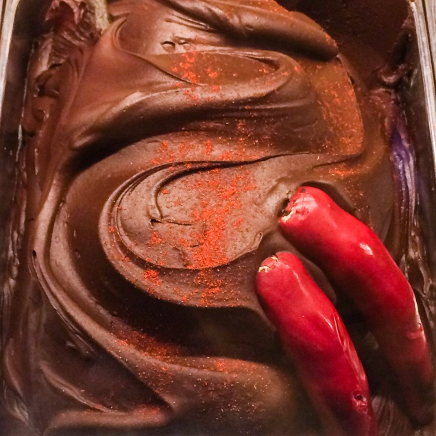 Chocolat's Spicy Chocolat gelato with hot red peppers.