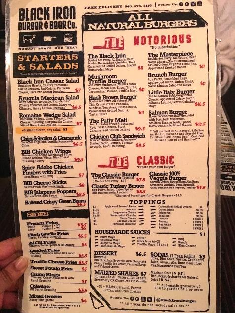 Black Iron Burger's Times Square menu.