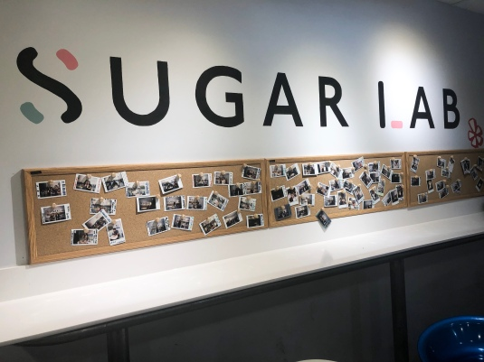 Sugar Lab's photo wall.