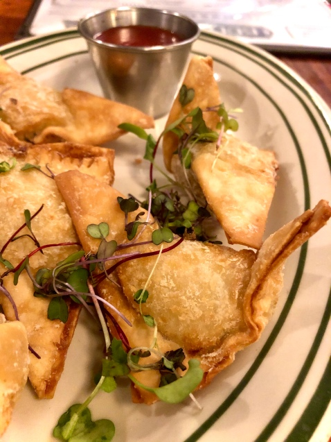 Crab Rangoons with sauce on the side at Ted's Bulletin